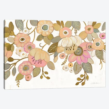 Decorative Pastel Flowers On White Canvas Print #WAC8725} by Silvia Vassileva Canvas Art Print