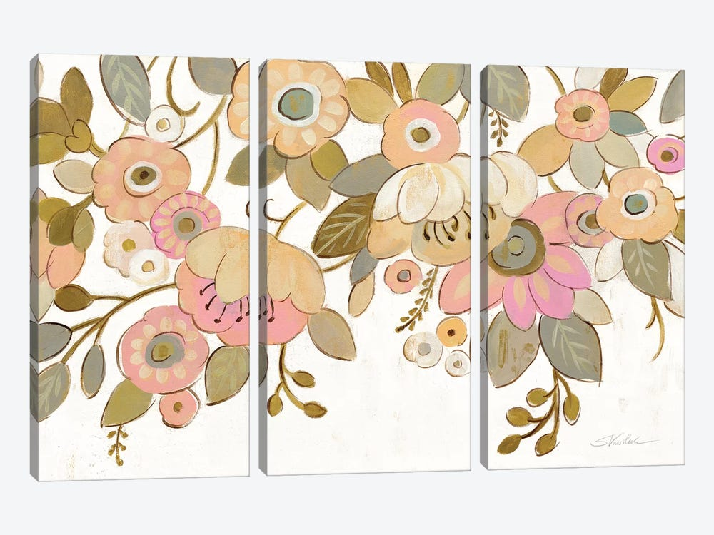 Decorative Pastel Flowers On White by Silvia Vassileva 3-piece Canvas Print