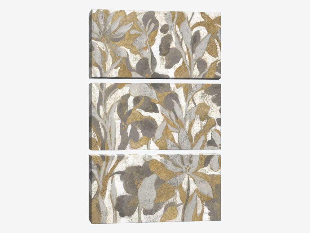 Painted Tropical Screen I Gray Gold by Silvia Vassileva 3-piece Art Print