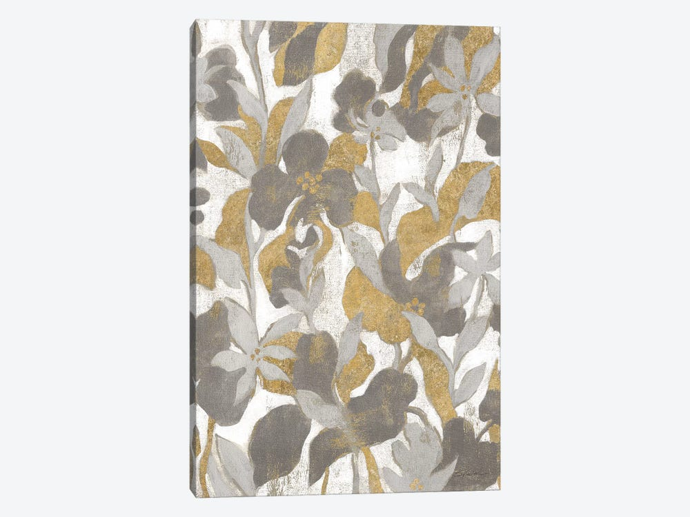 Painted Tropical Screen II Gray Gold by Silvia Vassileva 1-piece Canvas Artwork