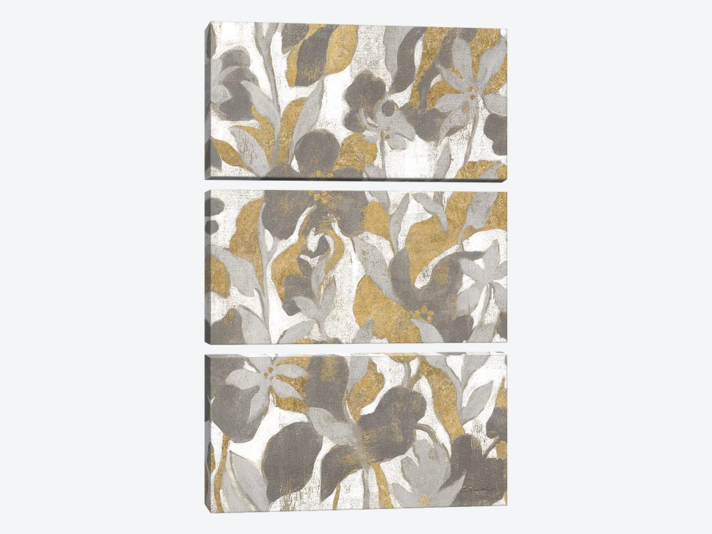 Painted Tropical Screen II Gray Gold by Silvia Vassileva 3-piece Canvas Artwork
