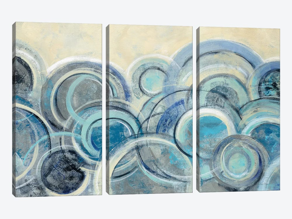 Variation Blue by Silvia Vassileva 3-piece Canvas Wall Art