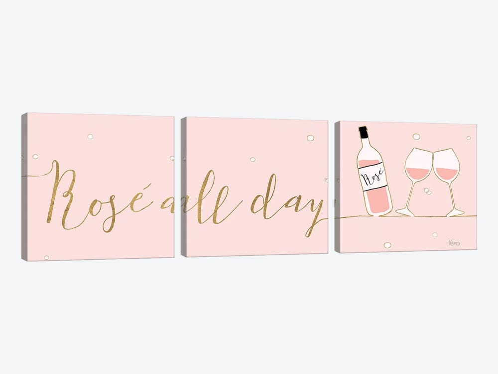 Underlined Bubbly I Pink by Veronique Charron 3-piece Canvas Art Print