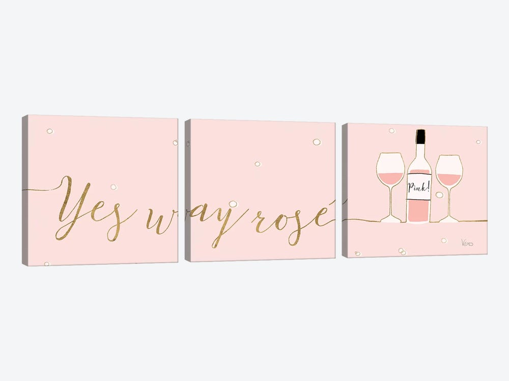 Underlined Bubbly II Pink by Veronique Charron 3-piece Canvas Artwork