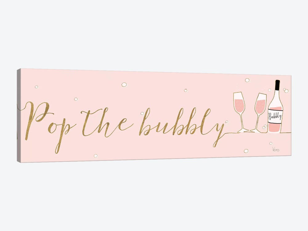 Underlined Bubbly III Pink by Veronique Charron 1-piece Canvas Print