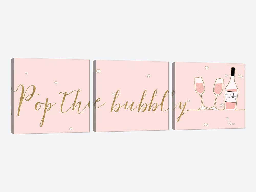 Underlined Bubbly III Pink by Veronique Charron 3-piece Canvas Art Print