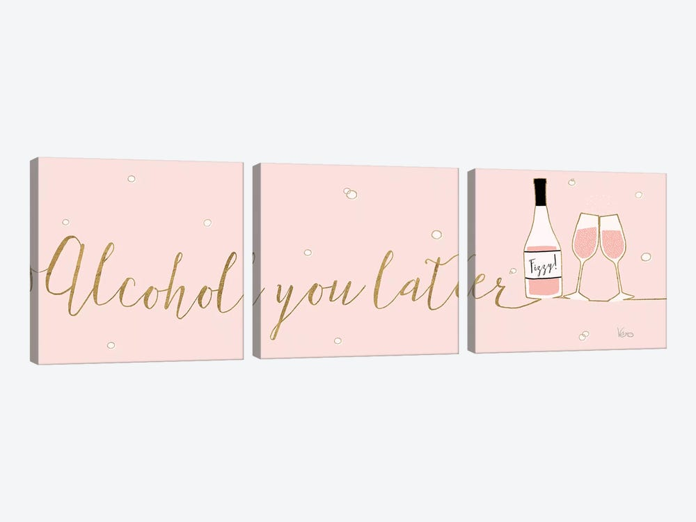 Underlined Bubbly IV Pink by Veronique Charron 3-piece Canvas Art