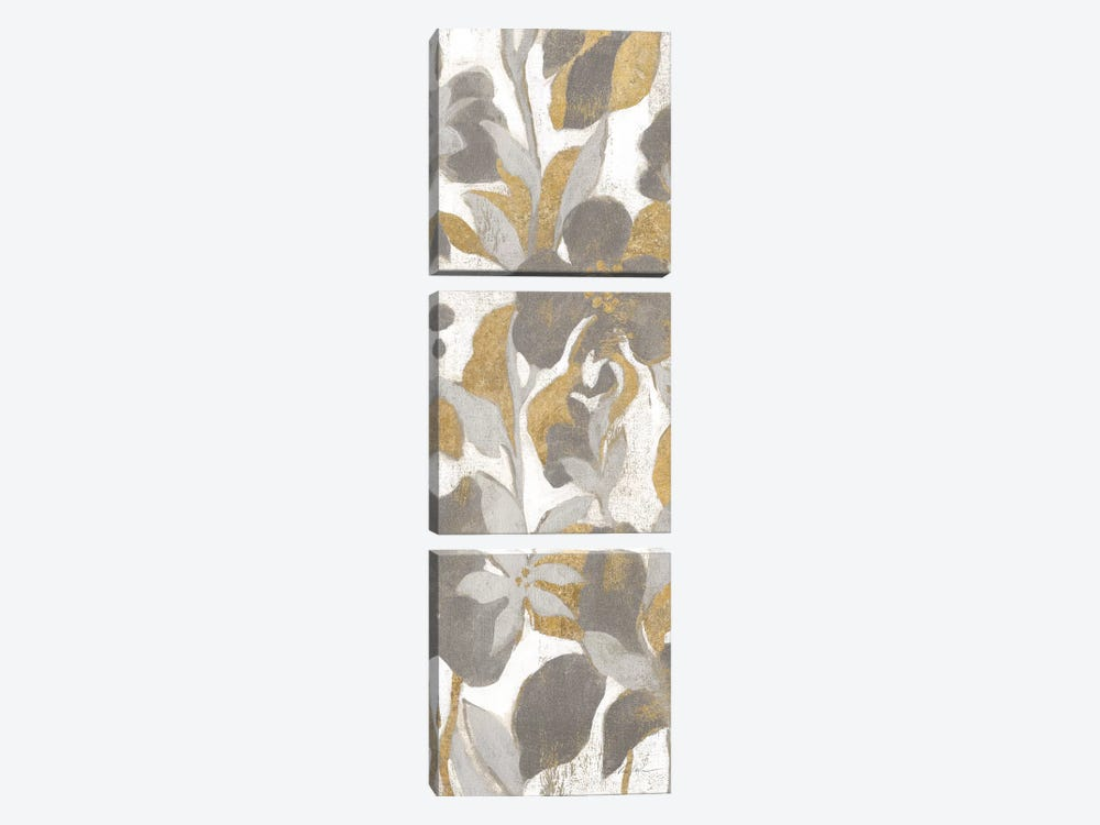Painted Tropical Screen, Gray Gold II by Silvia Vassileva 3-piece Canvas Wall Art