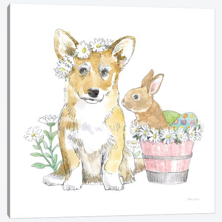 Easter Pups I Canvas Print #WAC8789} by Beth Grove Canvas Artwork