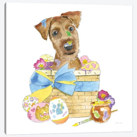 Easter Pups III Canvas Print #WAC8791} by Beth Grove Art Print