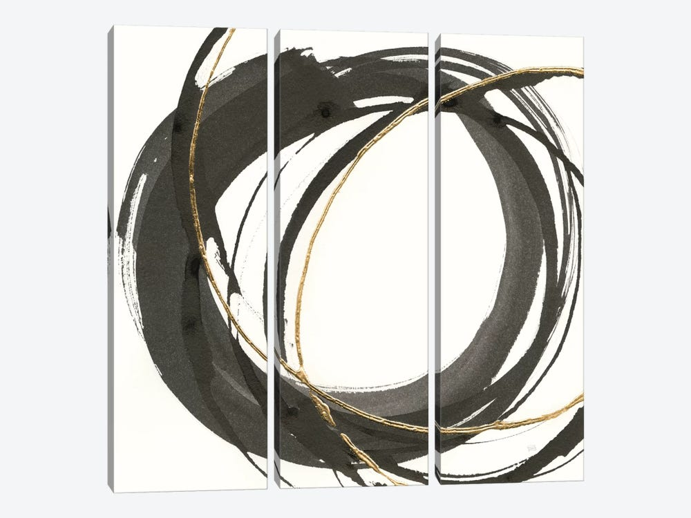 Gilded Enso I by Chris Paschke 3-piece Canvas Wall Art