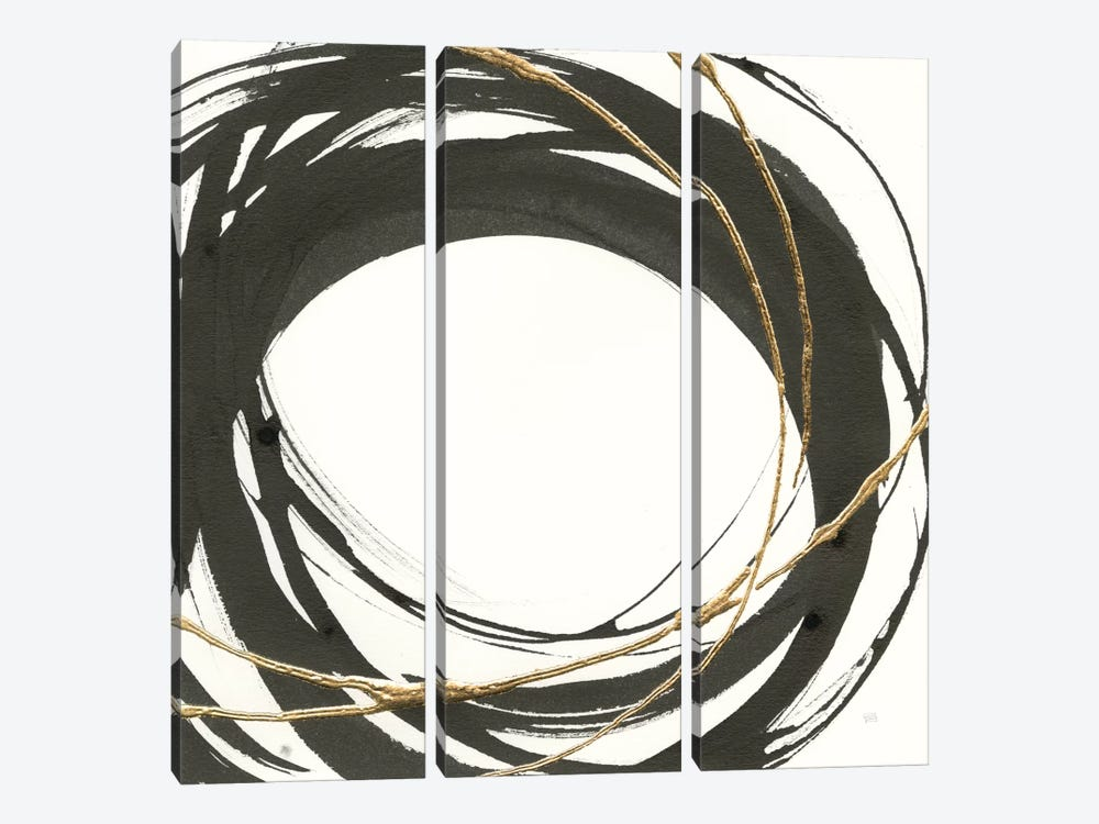 Gilded Enso III by Chris Paschke 3-piece Canvas Artwork