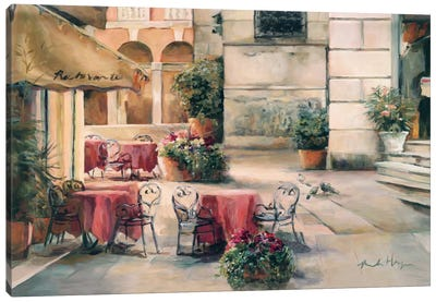 Plaza Cafe Canvas Art Print