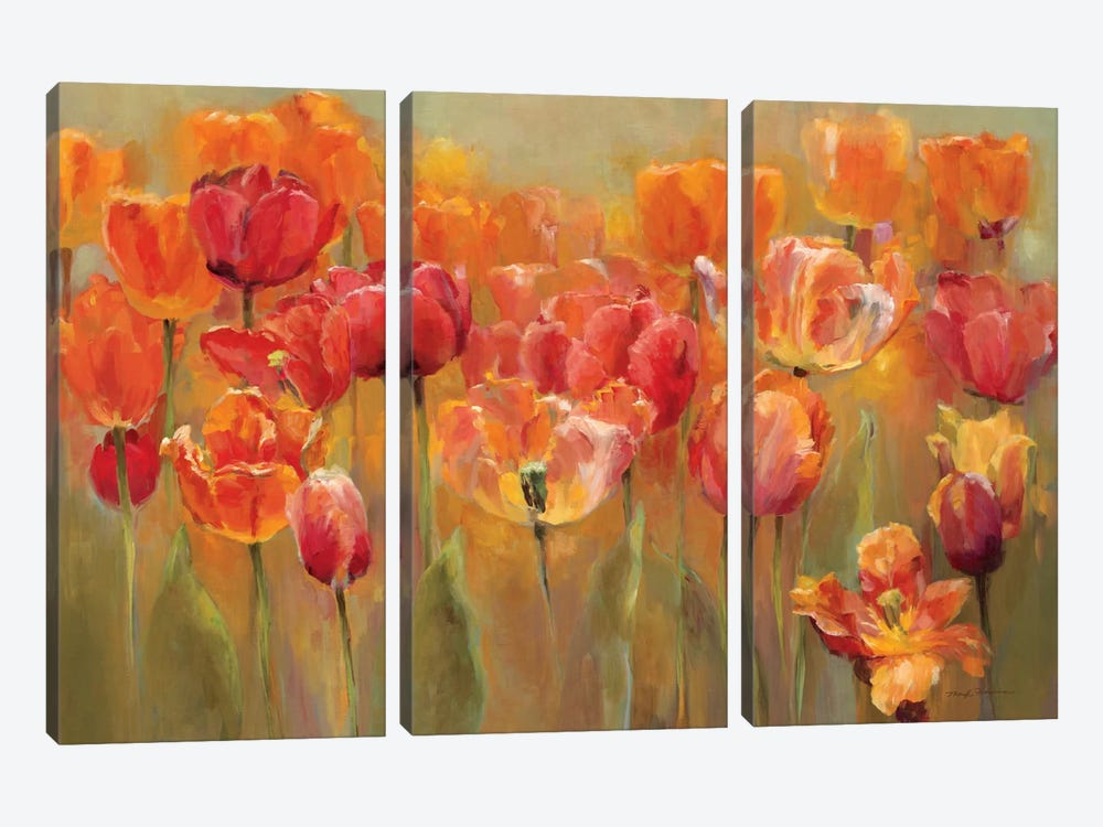 Tulips in the Midst III by Marilyn Hageman 3-piece Canvas Art
