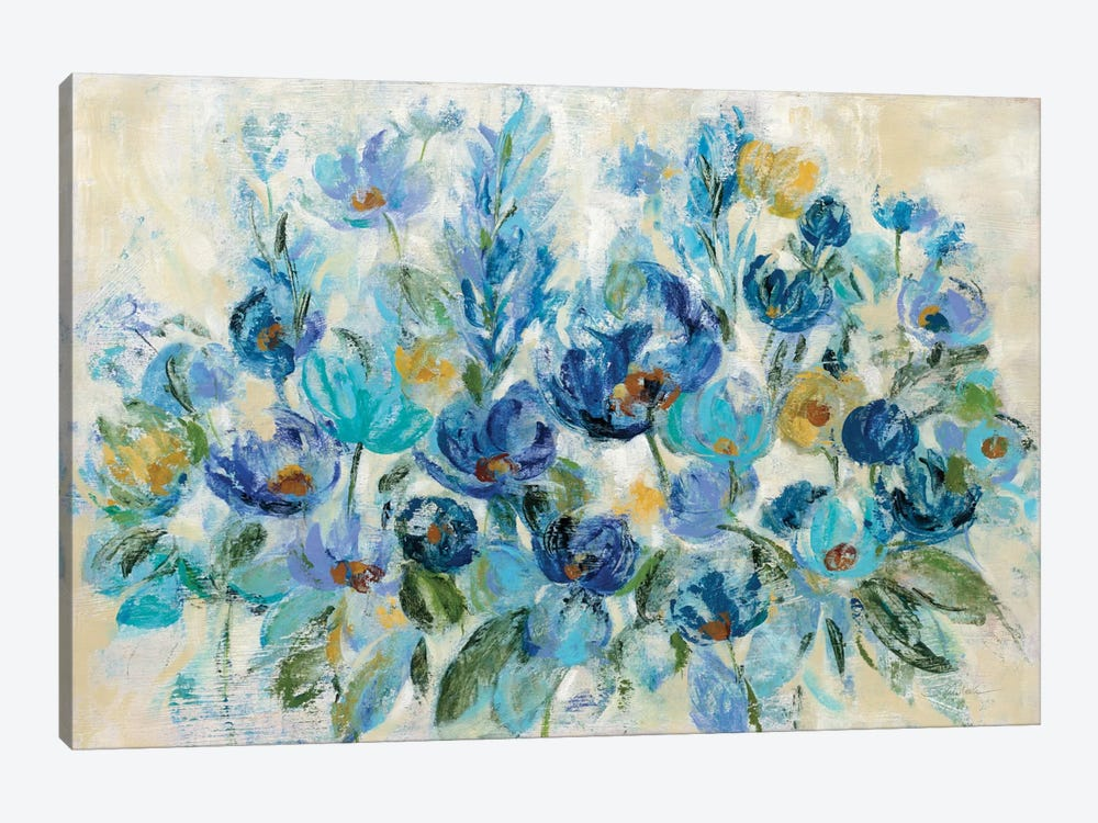 Scattered Blue Flowers by Silvia Vassileva 1-piece Canvas Art