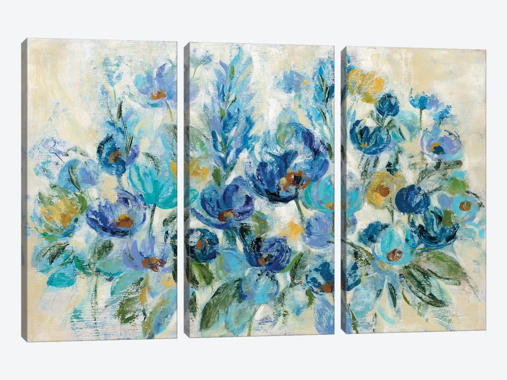 Scattered Blue Flowers by Silvia Vassileva 3-piece Canvas Art