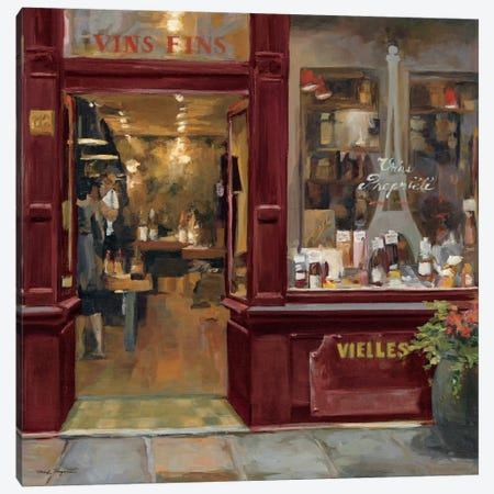 Parisian Wine Shop Red Crop  Canvas Print #WAC894} by Marilyn Hageman Canvas Artwork