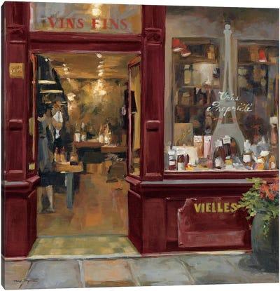 Parisian Wine Shop Red Crop  Canvas Print #WAC894