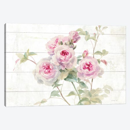 Sweet Roses On Wood Canvas Print #WAC8987} by Danhui Nai Canvas Print