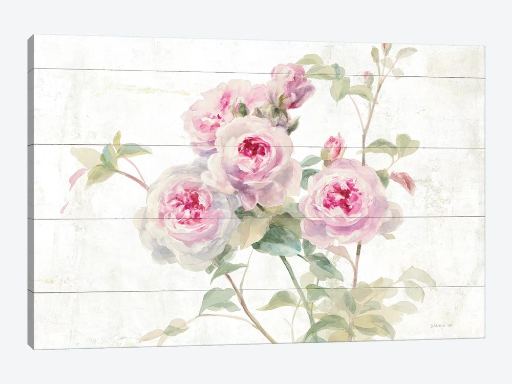 Sweet Roses On Wood by Danhui Nai 1-piece Canvas Art