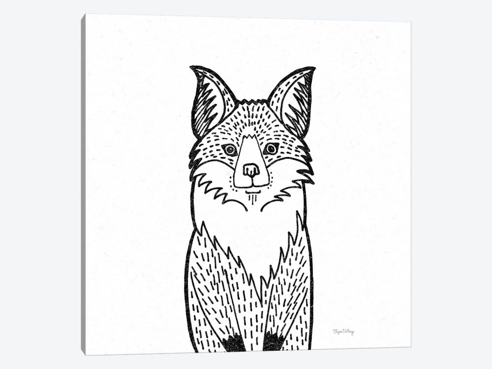 Forest Friends I Black And White Fox by Elyse DeNeige 1-piece Art Print