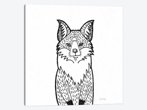 Forest Friends I Black And White Fox Canvas Print Elyse Deneige Icanvas