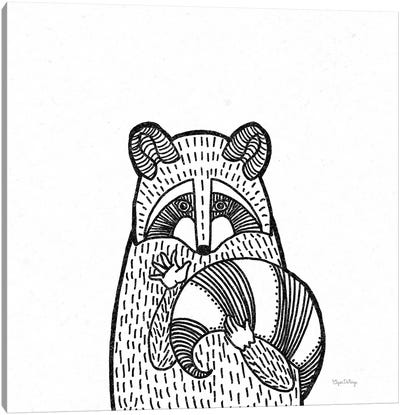 Forest Friends II Black And White Raccoon Canvas Art Print