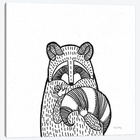 Forest Friends II Black And White Raccoon 3-Piece Canvas #WAC8989} by Elyse DeNeige Canvas Artwork