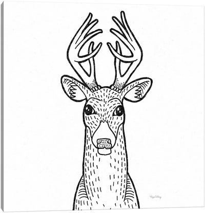 Forest Friends III Black And White Deer Canvas Art Print