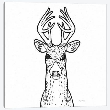 Forest Friends III Black And White Deer Canvas Print #WAC8990} by Elyse DeNeige Art Print