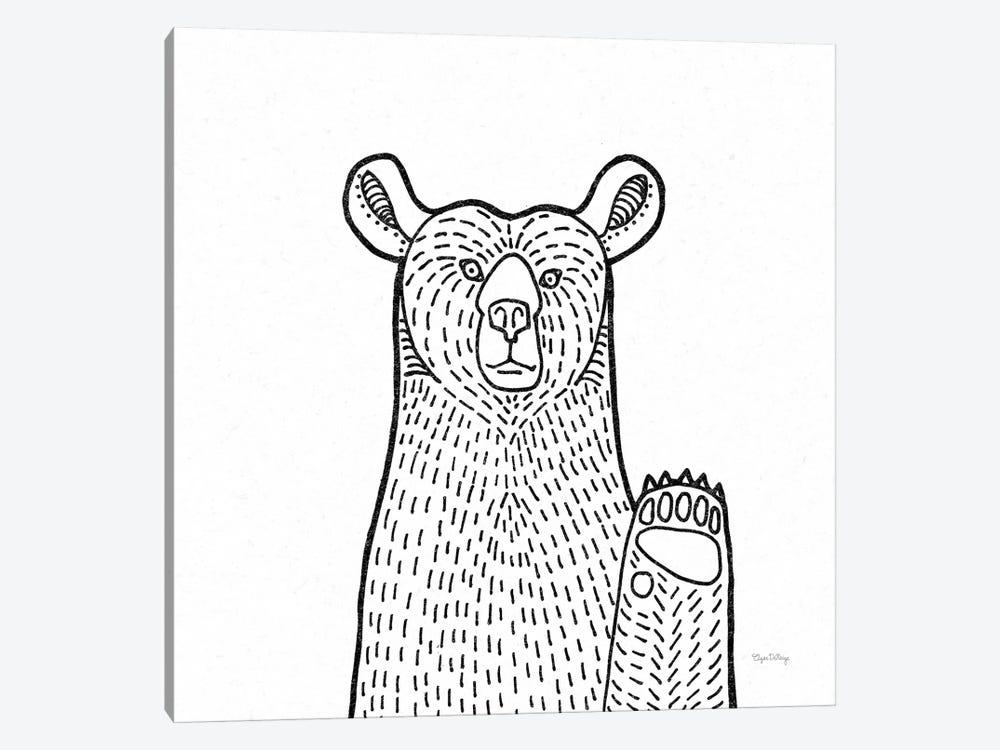 Forest Friends Iv Black And White Bear Canvas Elyse Deneige Icanvas