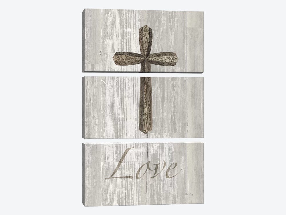 Words For Worship Love On Wood by Elyse DeNeige 3-piece Art Print
