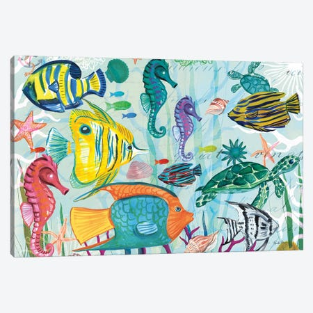 Tropical Underwater V Canvas Print #WAC8997} by Farida Zaman Canvas Wall Art