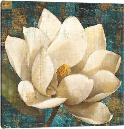 Magnolia Blossom Turquoise Canvas Art Print