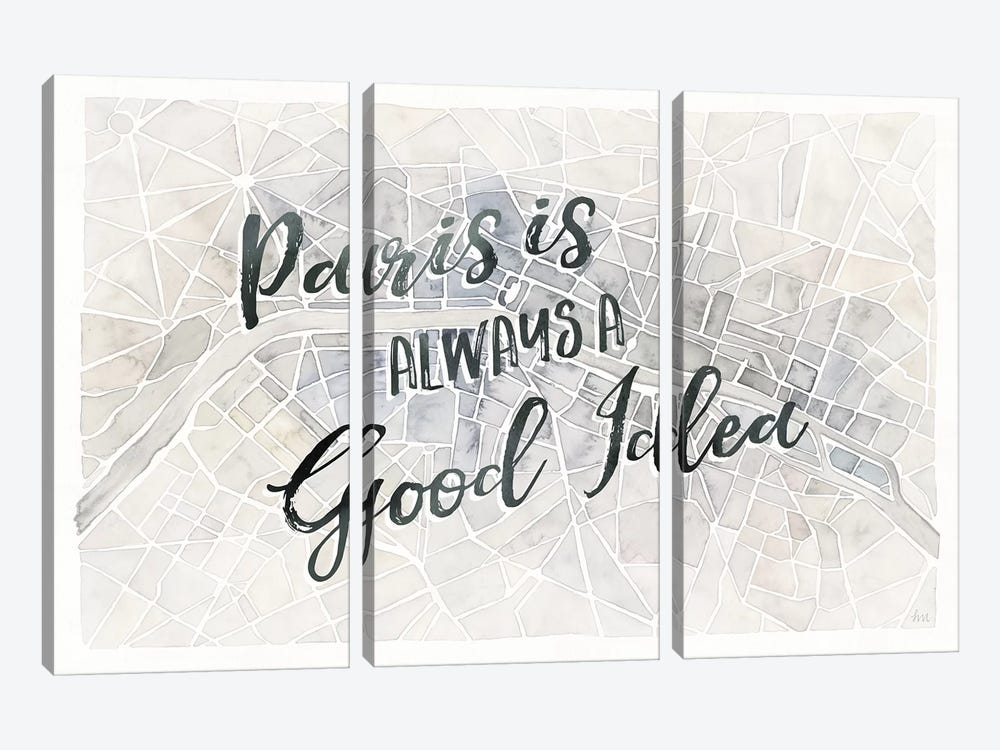 Watercolor Wanderlust Paris Adventure by Laura Marshall 3-piece Canvas Wall Art