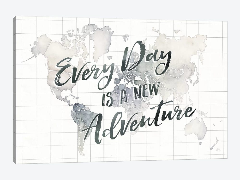 Watercolor Wanderlust World Adventure by Laura Marshall 1-piece Canvas Art Print