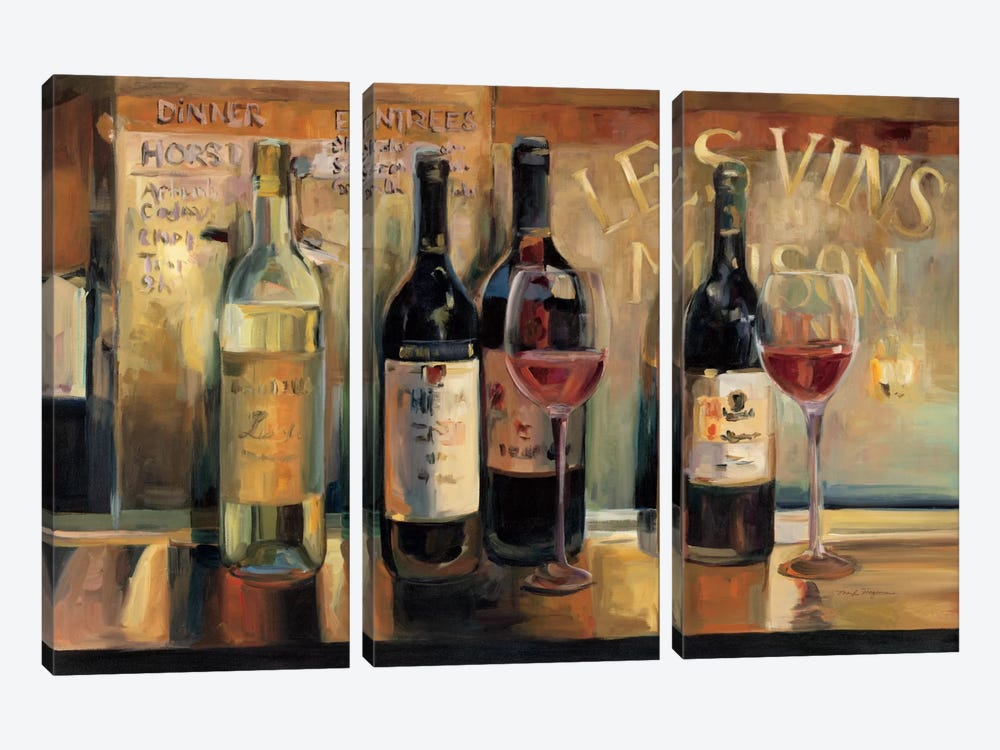 Les Vins Maison  by Marilyn Hageman 3-piece Canvas Wall Art