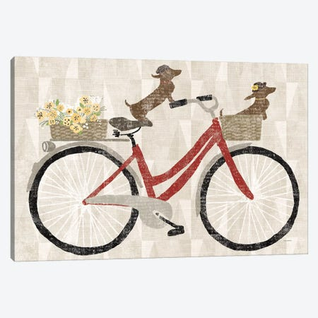 Doxie Ride Red Bike Canvas Print #WAC9037} by Sue Schlabach Canvas Wall Art