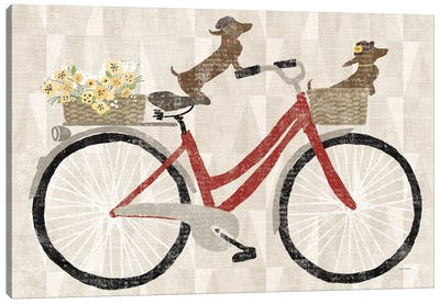 Doxie Ride Red Bike Canvas Art Print