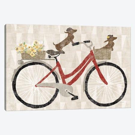 Doxie Ride Red Bike 3-Piece Canvas #WAC9037} by Sue Schlabach Canvas Wall Art