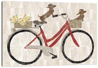 Doxie Ride Red Bike Canvas Art Print