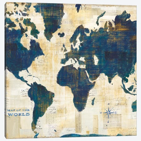 World Map Collage, Square Canvas Print #WAC9038} by Sue Schlabach Canvas Art Print