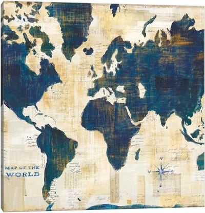World Map Collage, Square Canvas Art Print
