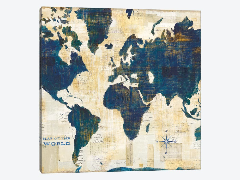 World Map Collage, Square by Sue Schlabach 1-piece Canvas Artwork