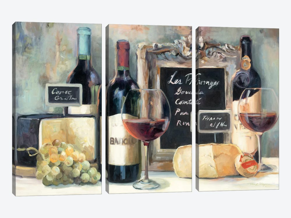 Les Fromages  by Marilyn Hageman 3-piece Canvas Print