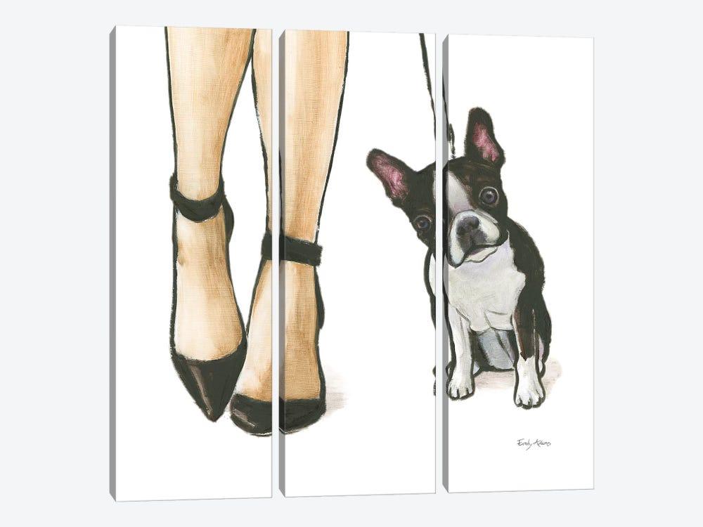 Furry Fashion Friends II by Emily Adams 3-piece Canvas Print