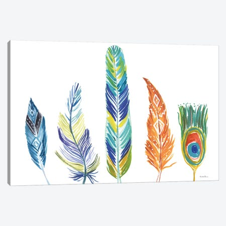 Rainbow Feathers III Canvas Print #WAC9106} by Farida Zaman Canvas Wall Art