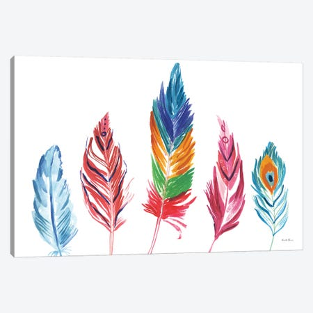 Rainbow Feathers IV Canvas Print #WAC9107} by Farida Zaman Canvas Artwork