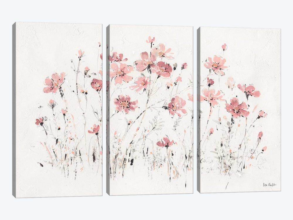 Wildflowers Pink I by Lisa Audit 3-piece Canvas Wall Art