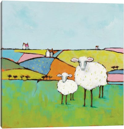 Sheep In The Meadow Canvas Art Print